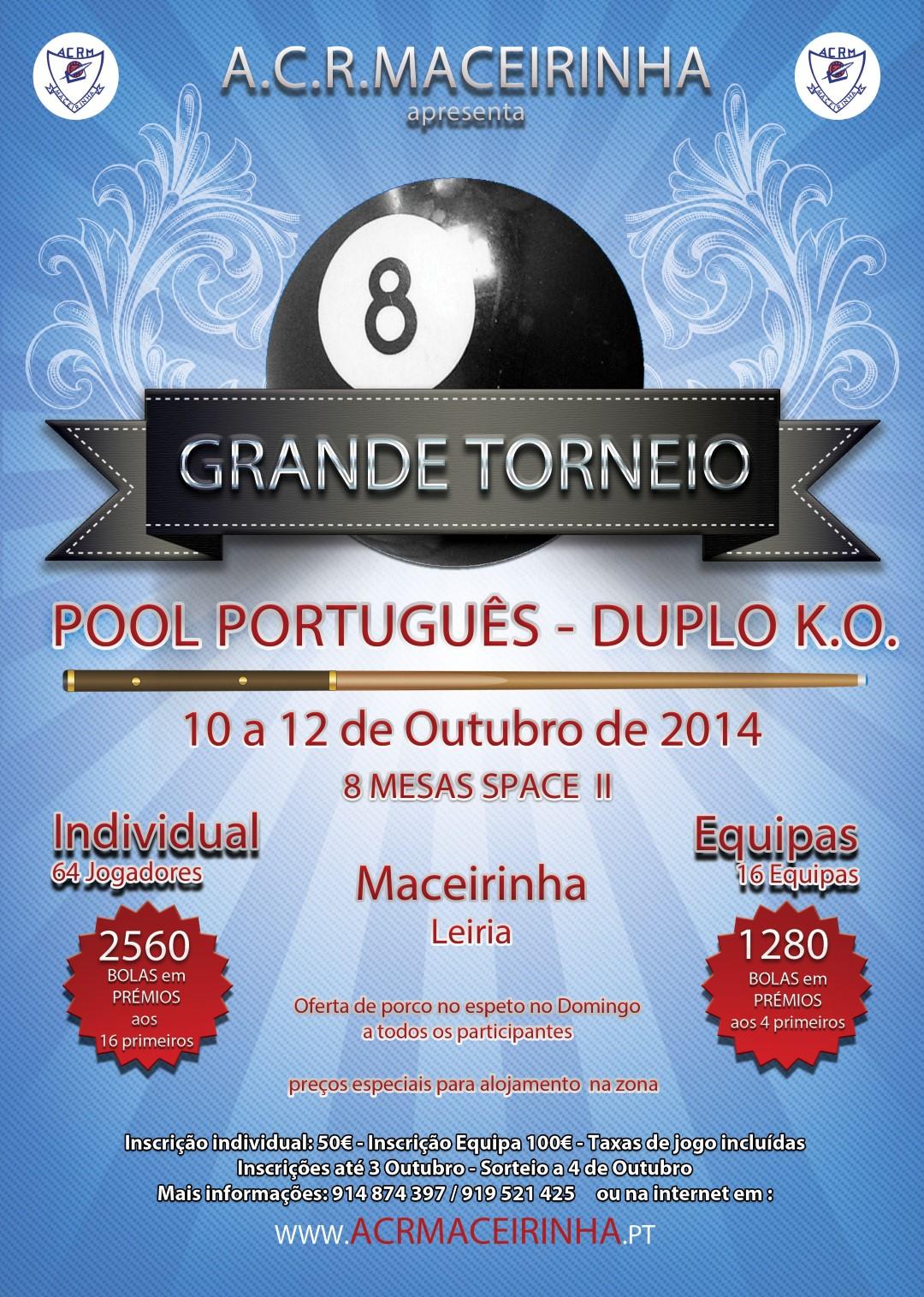 Cartaz Torneio Pool Portugues 2014 Acr Maceirinha